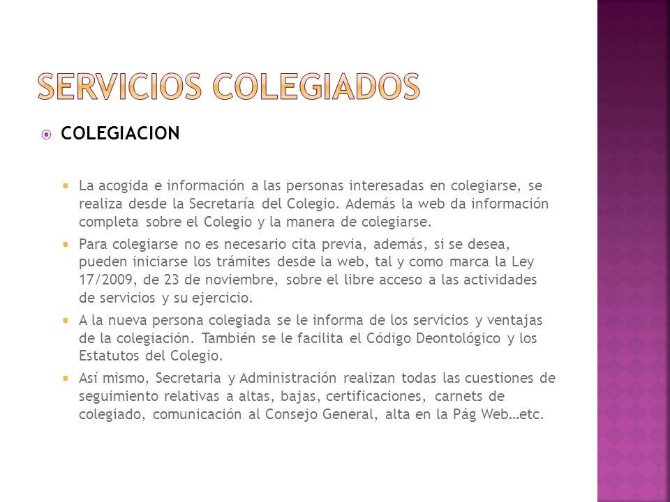 SERVICIOS COLEGIADOS COLEGIACION