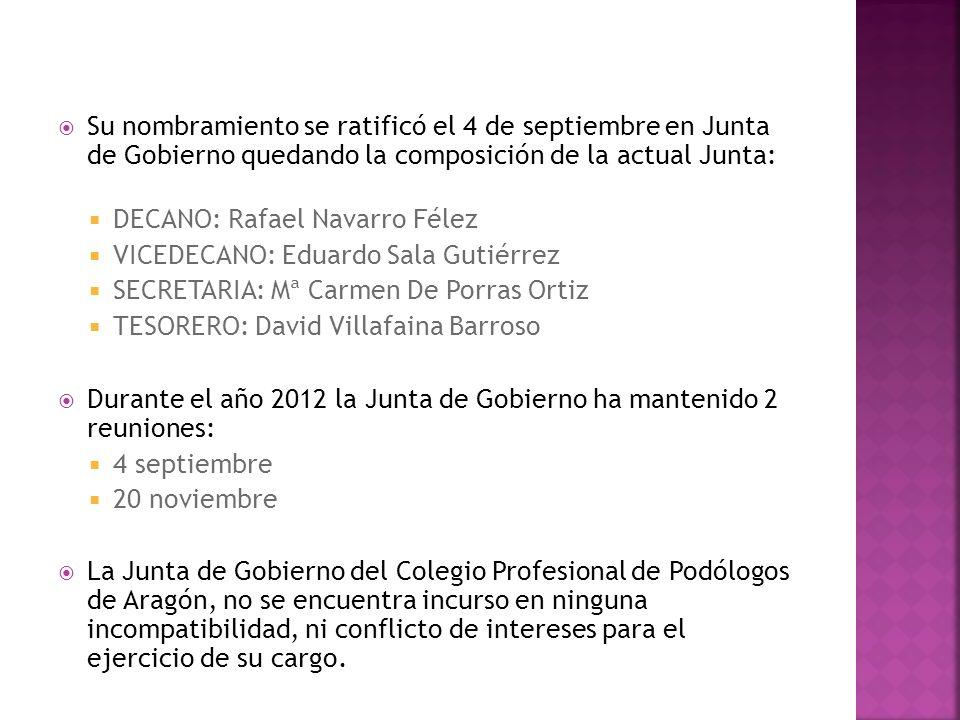 Su nombramiento se ratificó el 4 de septiembre en Junta de Gobierno quedando la composición de la actual Junta: