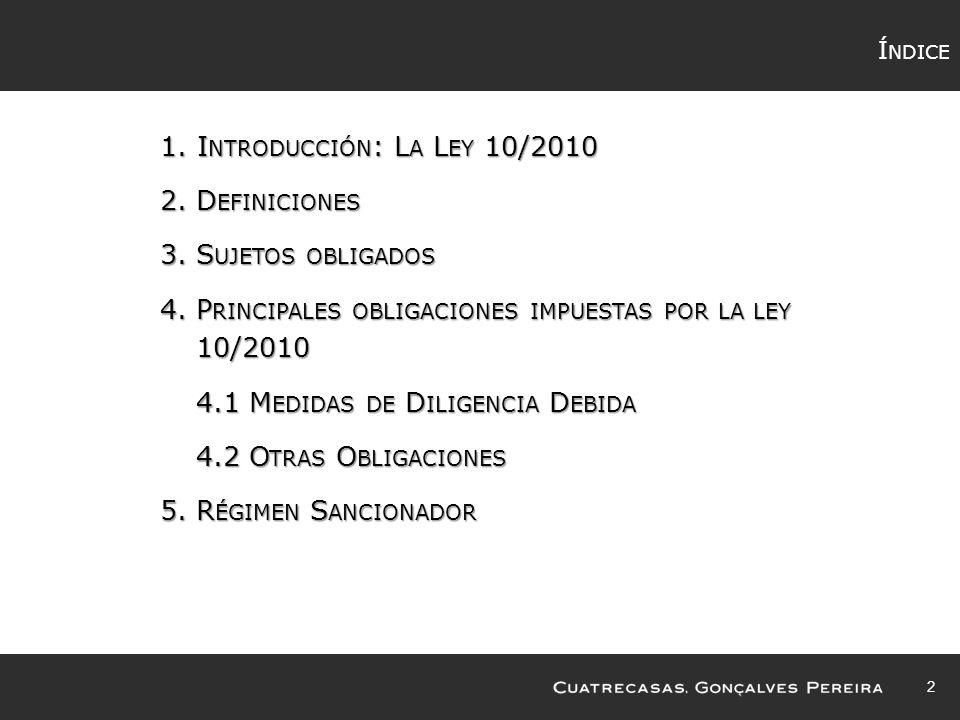 Principales obligaciones impuestas por la ley 10/2010