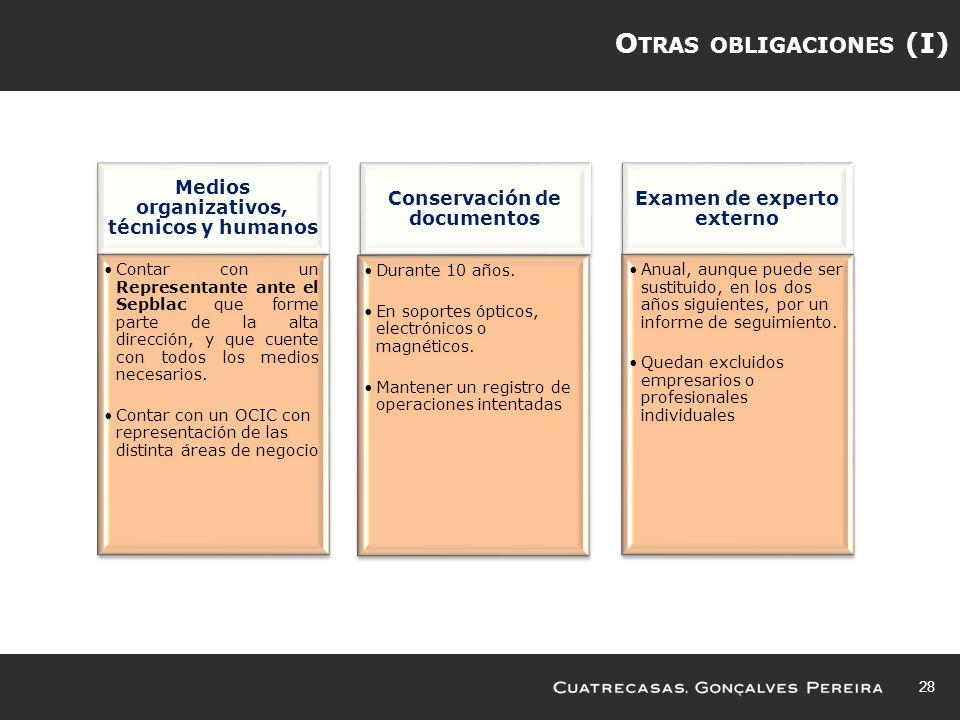 Otras obligaciones (I)