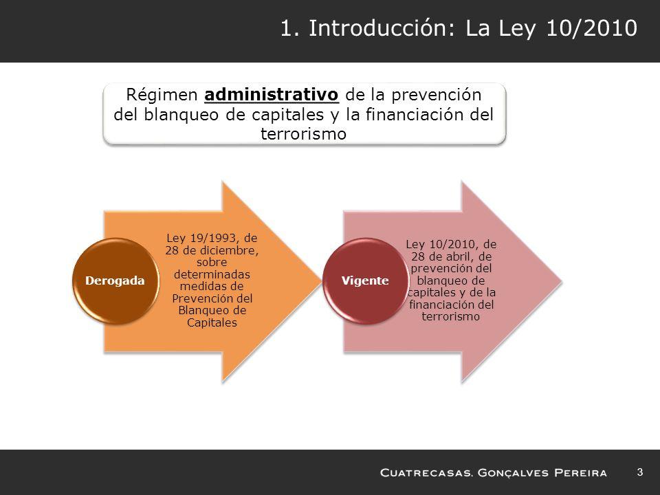 1. Introducción: La Ley 10/2010 Régimen administrativo de la prevención del blanqueo de capitales y la financiación del terrorismo.