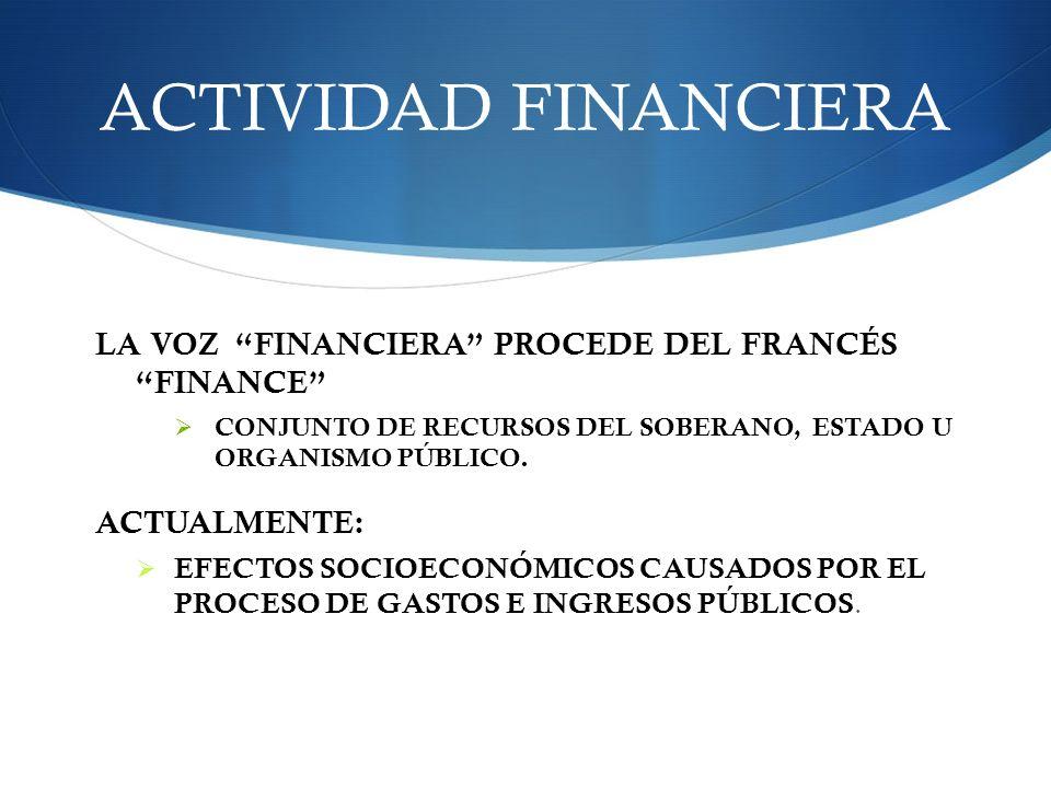 ACTIVIDAD FINANCIERA LA VOZ FINANCIERA PROCEDE DEL FRANCÉS FINANCE