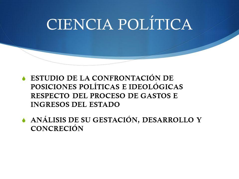 CIENCIA POLÍTICA ESTUDIO DE LA CONFRONTACIÓN DE POSICIONES POLÍTICAS E IDEOLÓGICAS RESPECTO DEL PROCESO DE GASTOS E INGRESOS DEL ESTADO.