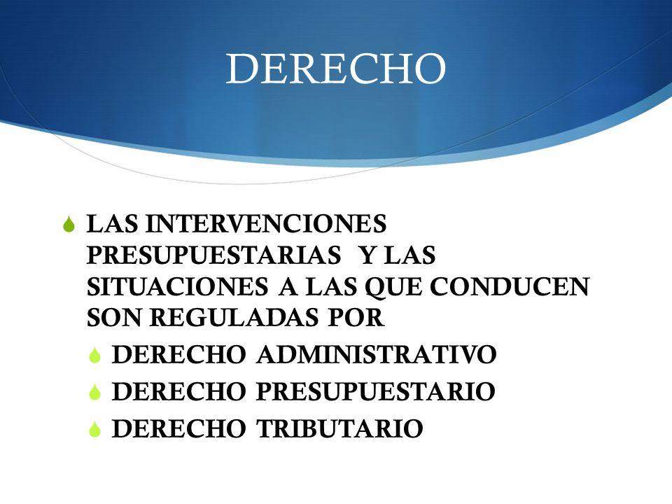 DERECHO LAS INTERVENCIONES PRESUPUESTARIAS Y LAS SITUACIONES A LAS QUE CONDUCEN SON REGULADAS POR.