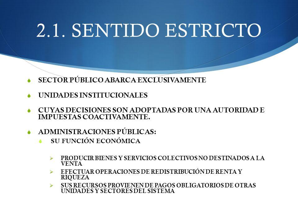 2.1. SENTIDO ESTRICTO SECTOR PÚBLICO ABARCA EXCLUSIVAMENTE