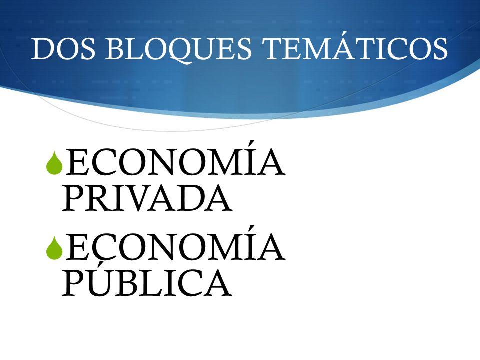 DOS BLOQUES TEMÁTICOS ECONOMÍA PRIVADA ECONOMÍA PÚBLICA