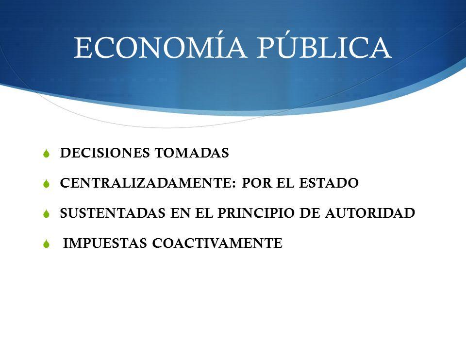 ECONOMÍA PÚBLICA DECISIONES TOMADAS CENTRALIZADAMENTE: POR EL ESTADO