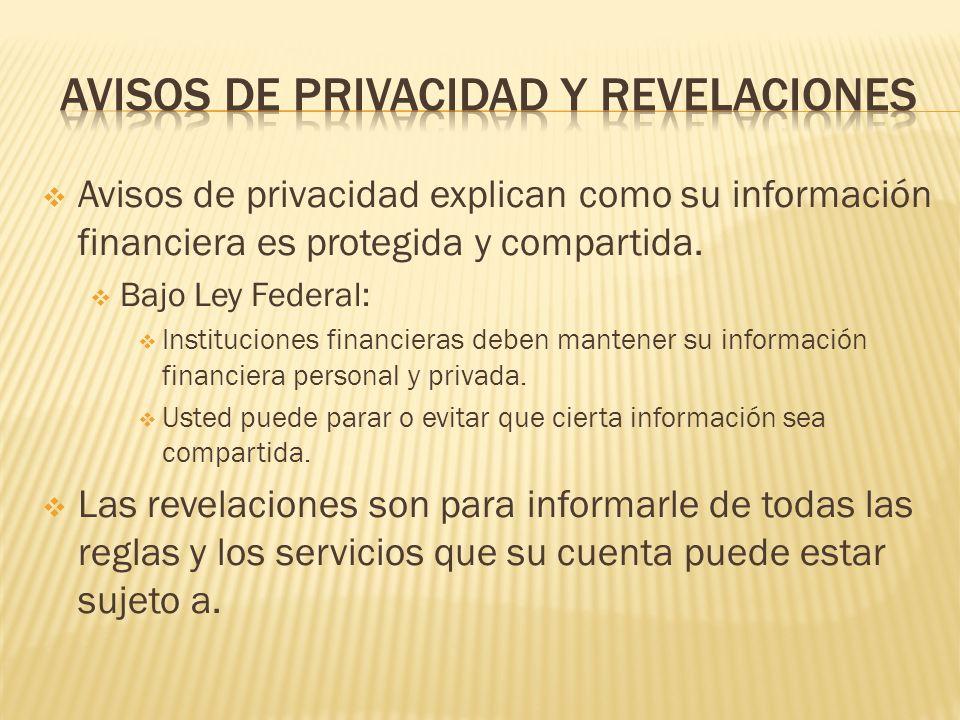 Avisos de privacidad y revelaciones