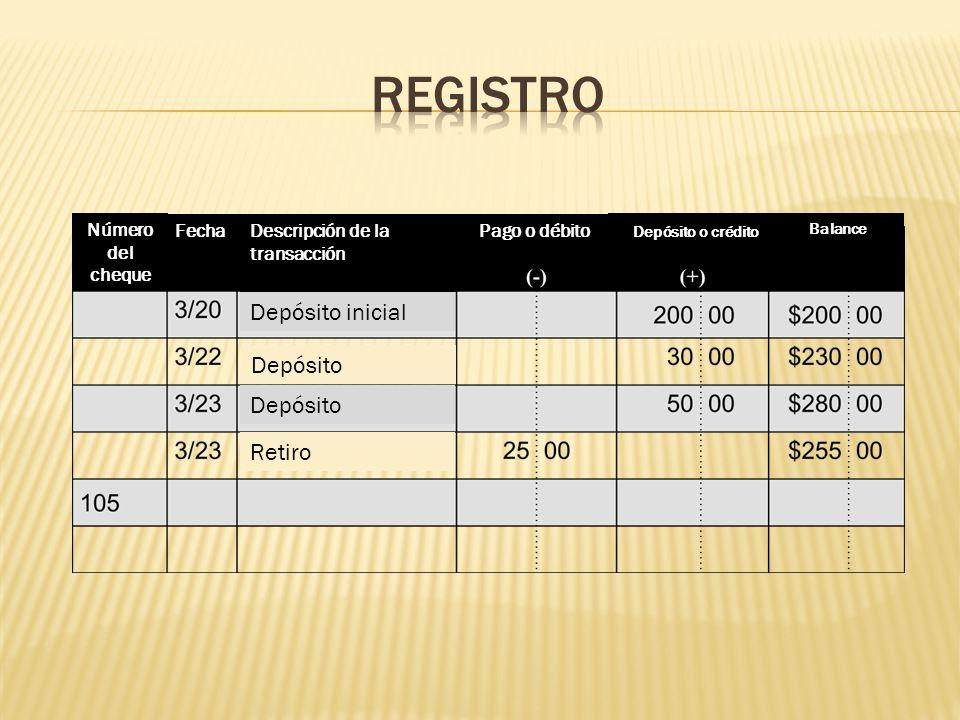 registro Depósito inicial Depósito Depósito Retiro Número del cheque