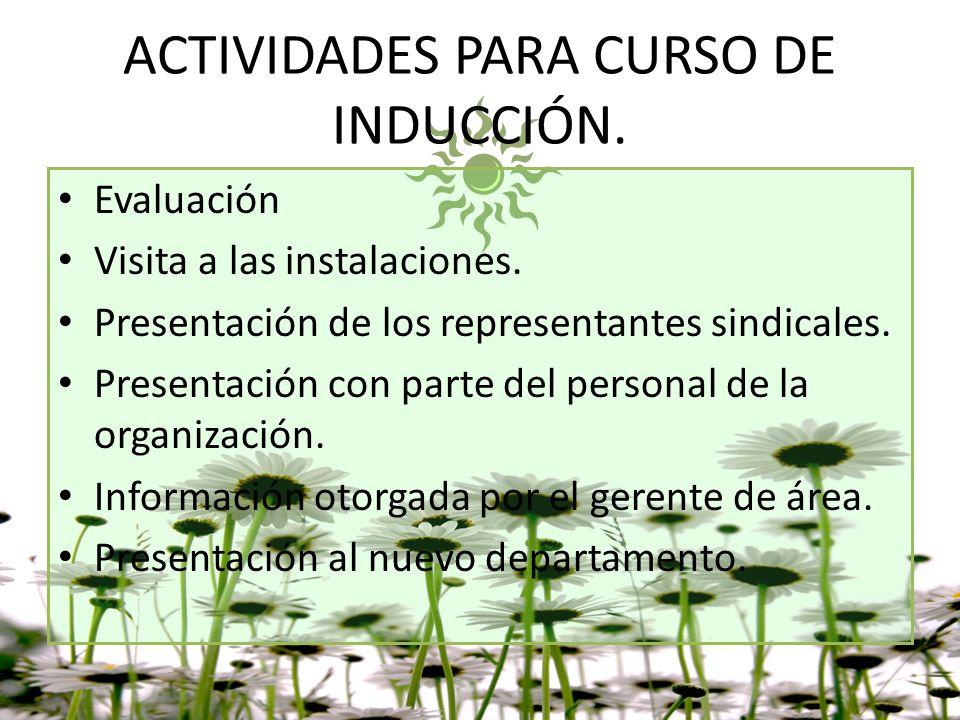 ACTIVIDADES PARA CURSO DE INDUCCIÓN.