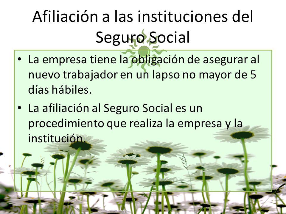 Afiliación a las instituciones del Seguro Social