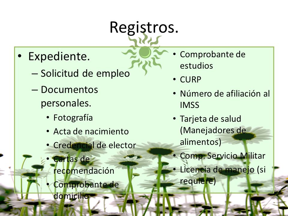 Registros. Expediente. Solicitud de empleo Documentos personales.