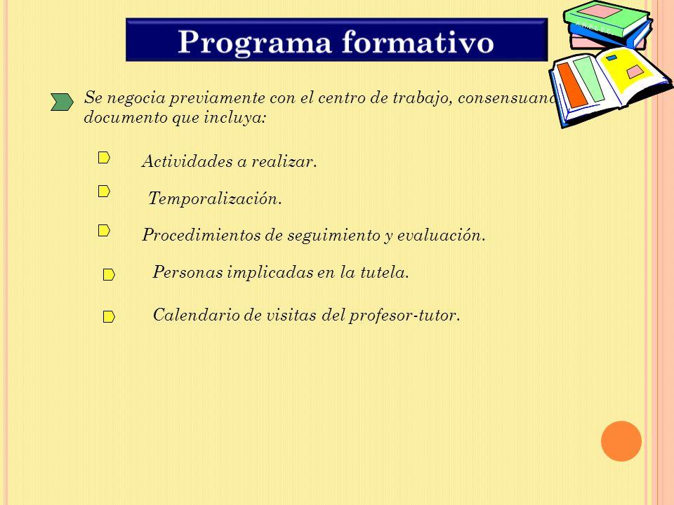 Programa formativo Se negocia previamente con el centro de trabajo, consensuando un documento que incluya: