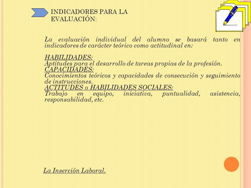 INDICADORES PARA LA EVALUACIÓN: