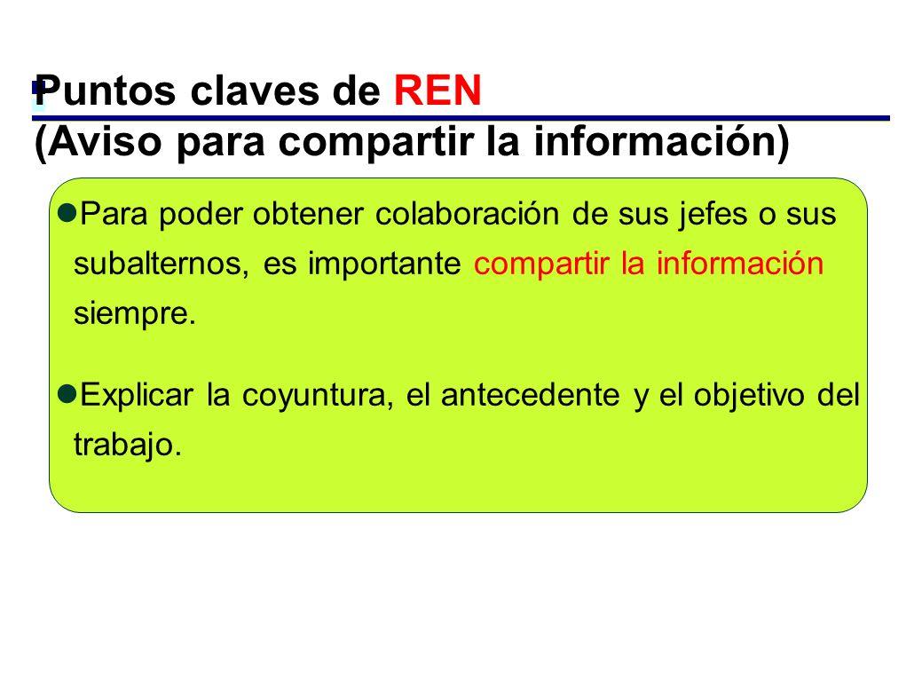 Puntos claves de REN (Aviso para compartir la información)