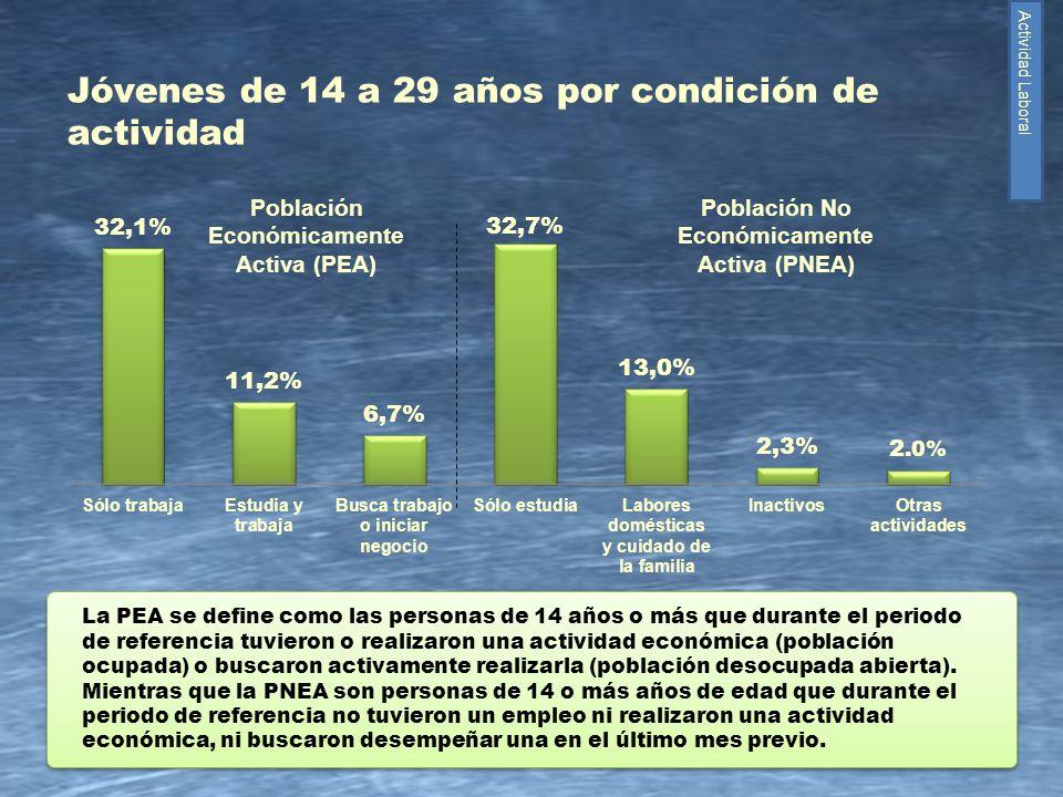 Jóvenes de 14 a 29 años por condición de actividad
