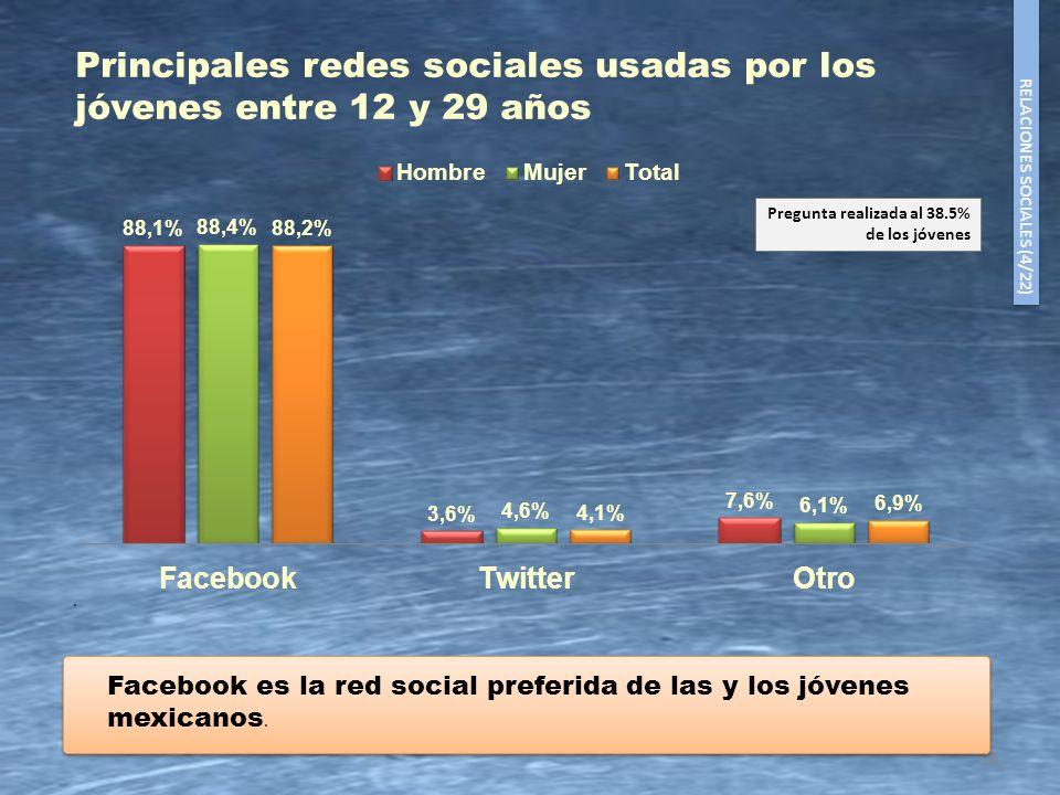 Principales redes sociales usadas por los jóvenes entre 12 y 29 años