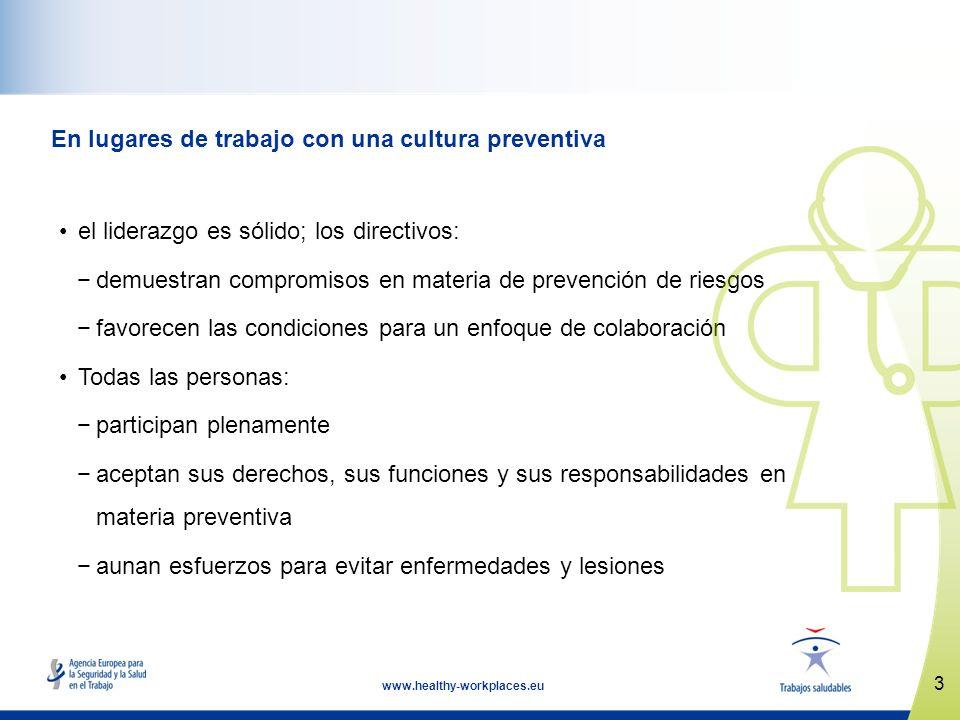 En lugares de trabajo con una cultura preventiva