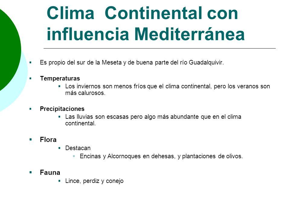 Clima Continental con influencia Mediterránea