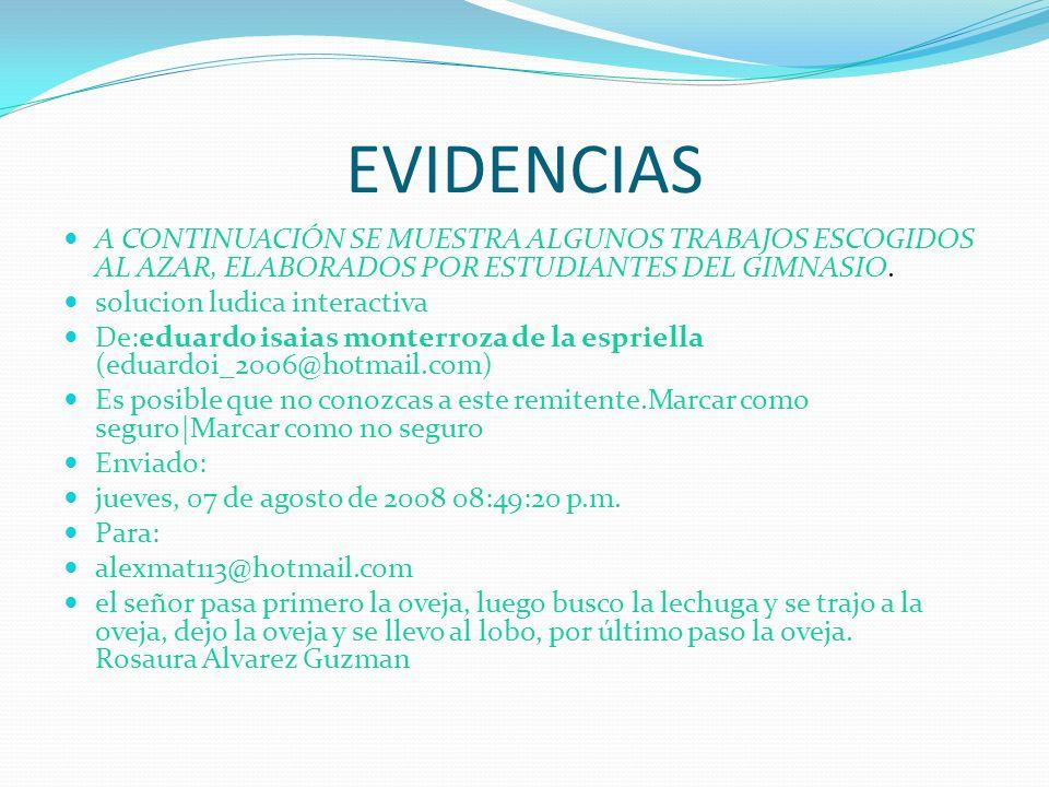 EVIDENCIAS A CONTINUACIÓN SE MUESTRA ALGUNOS TRABAJOS ESCOGIDOS AL AZAR, ELABORADOS POR ESTUDIANTES DEL GIMNASIO.
