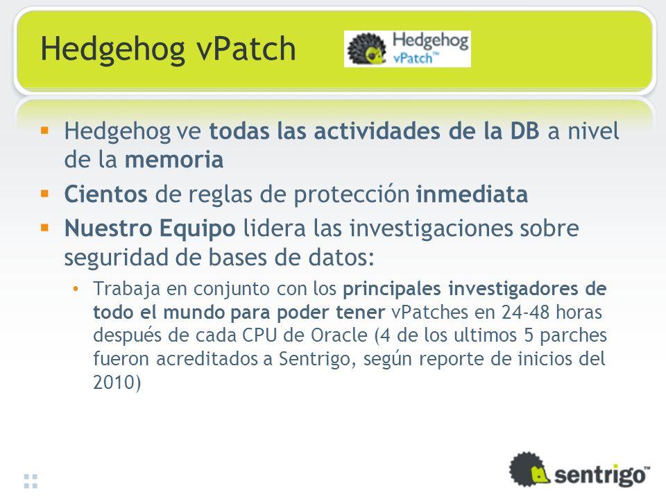 Hedgehog vPatch Hedgehog ve todas las actividades de la DB a nivel de la memoria. Cientos de reglas de protección inmediata.