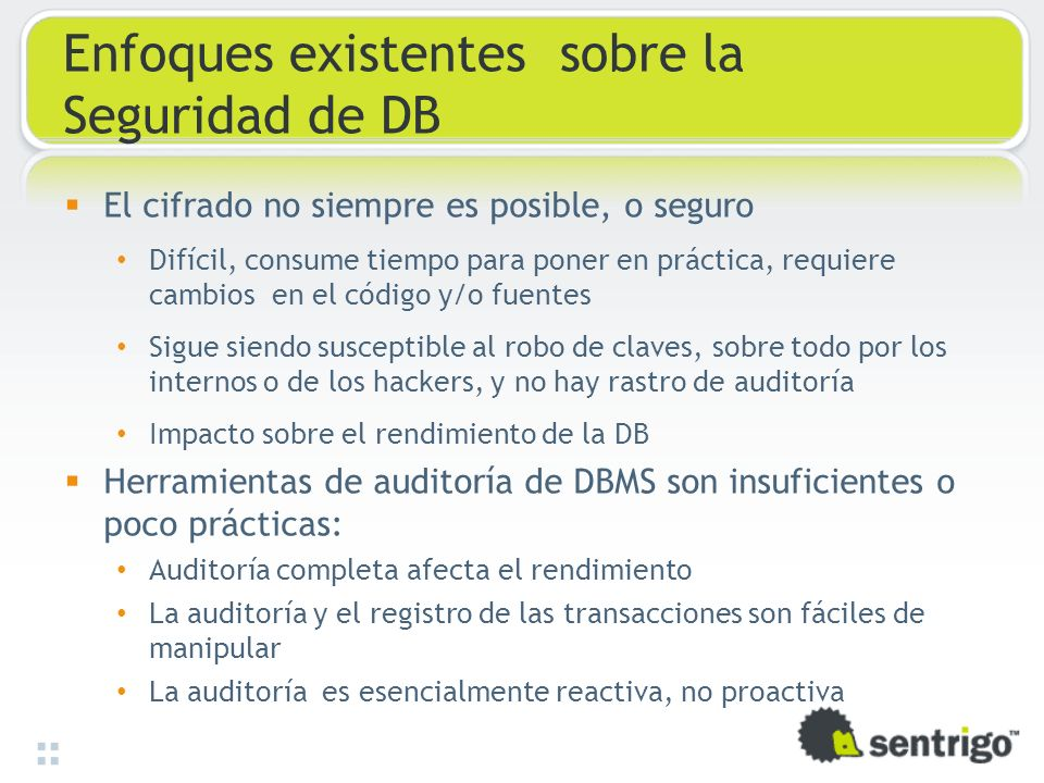 Enfoques existentes sobre la Seguridad de DB