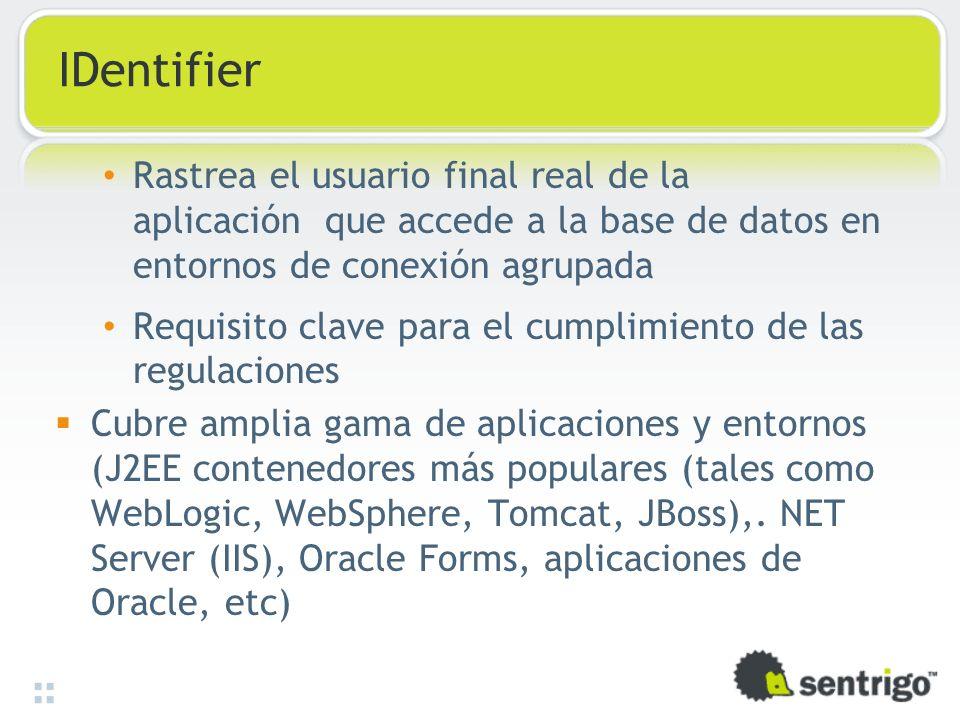 IDentifier Rastrea el usuario final real de la aplicación que accede a la base de datos en entornos de conexión agrupada.