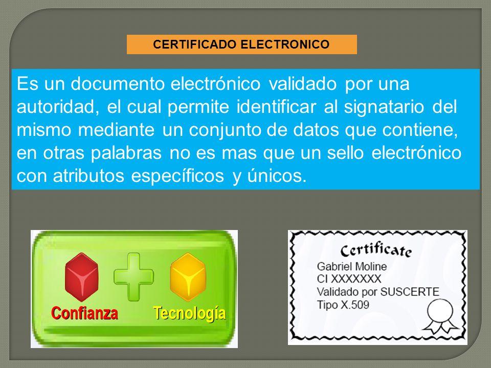 CERTIFICADO ELECTRONICO