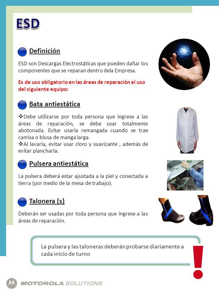 ESD Definición Bata antiestática Pulsera antiestática Talonera (s)