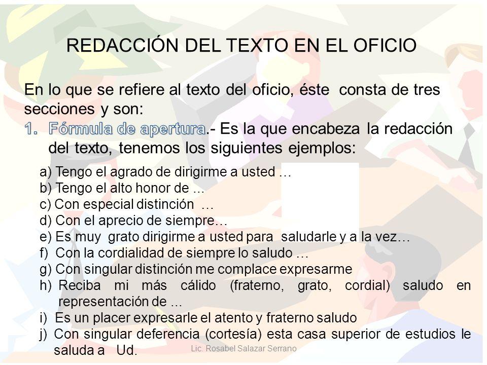 REDACCIÓN DEL TEXTO EN EL OFICIO