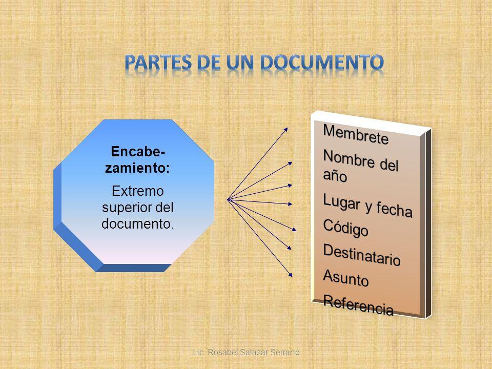 PARTES DE UN DOCUMENTO Membrete Nombre del año Lugar y fecha Código