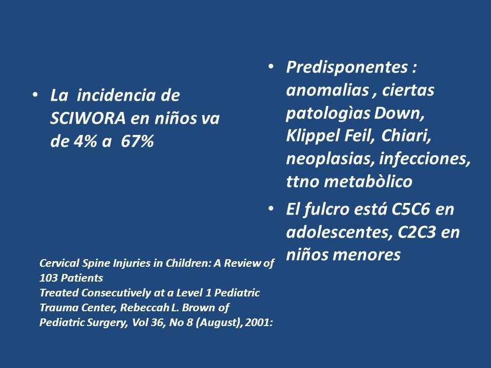 El fulcro está C5C6 en adolescentes, C2C3 en niños menores