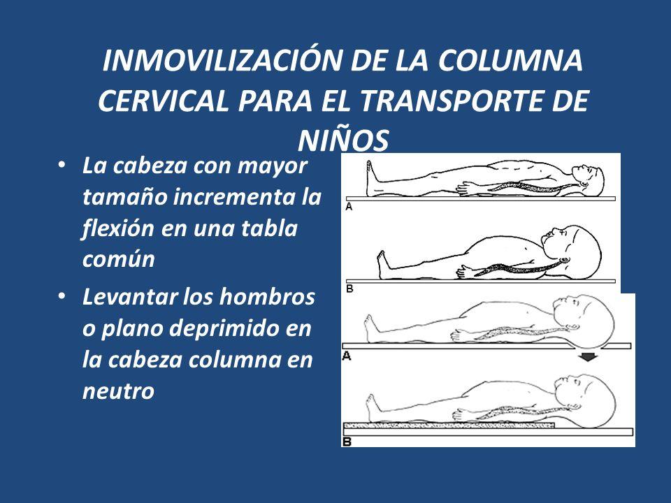 INMOVILIZACIÓN DE LA COLUMNA CERVICAL PARA EL TRANSPORTE DE NIÑOS