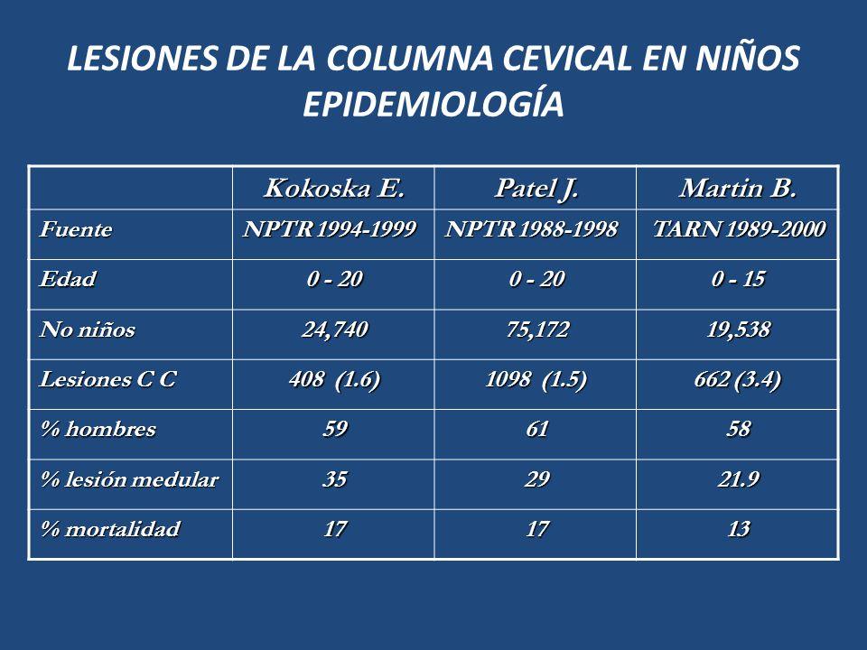 LESIONES DE LA COLUMNA CEVICAL EN NIÑOS EPIDEMIOLOGÍA