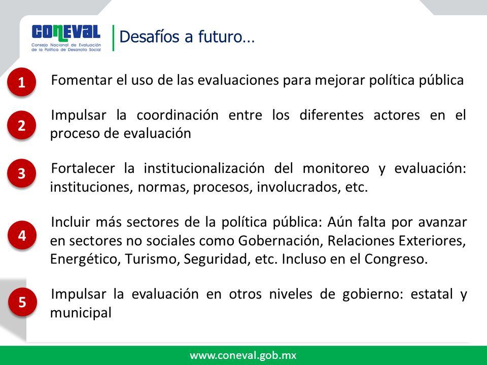 Desafíos a futuro… 1. Fomentar el uso de las evaluaciones para mejorar política pública.