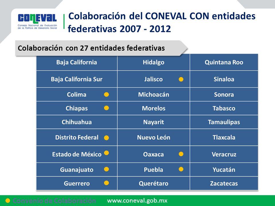 Colaboración del CONEVAL CON entidades federativas 2007 - 2012