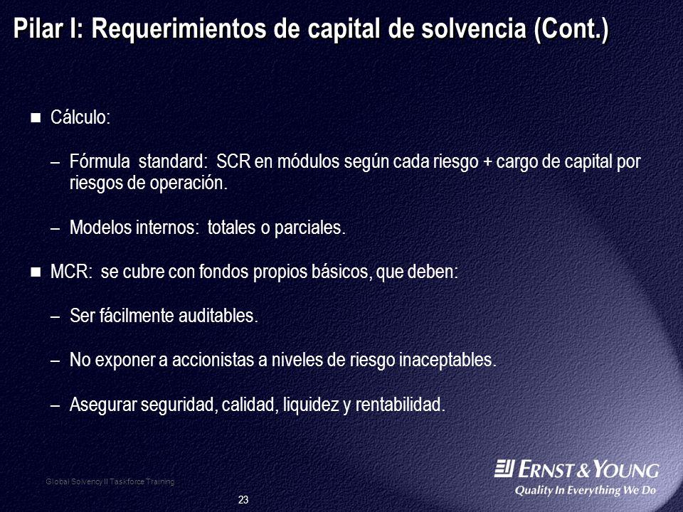 Pilar I: Requerimientos de capital de solvencia (Cont.)