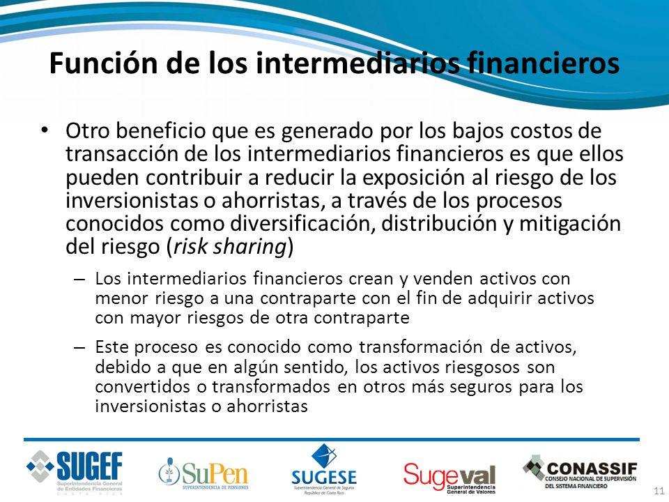 Función de los intermediarios financieros