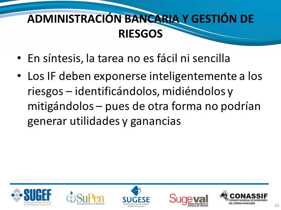 ADMINISTRACIÓN BANCARIA Y GESTIÓN DE RIESGOS