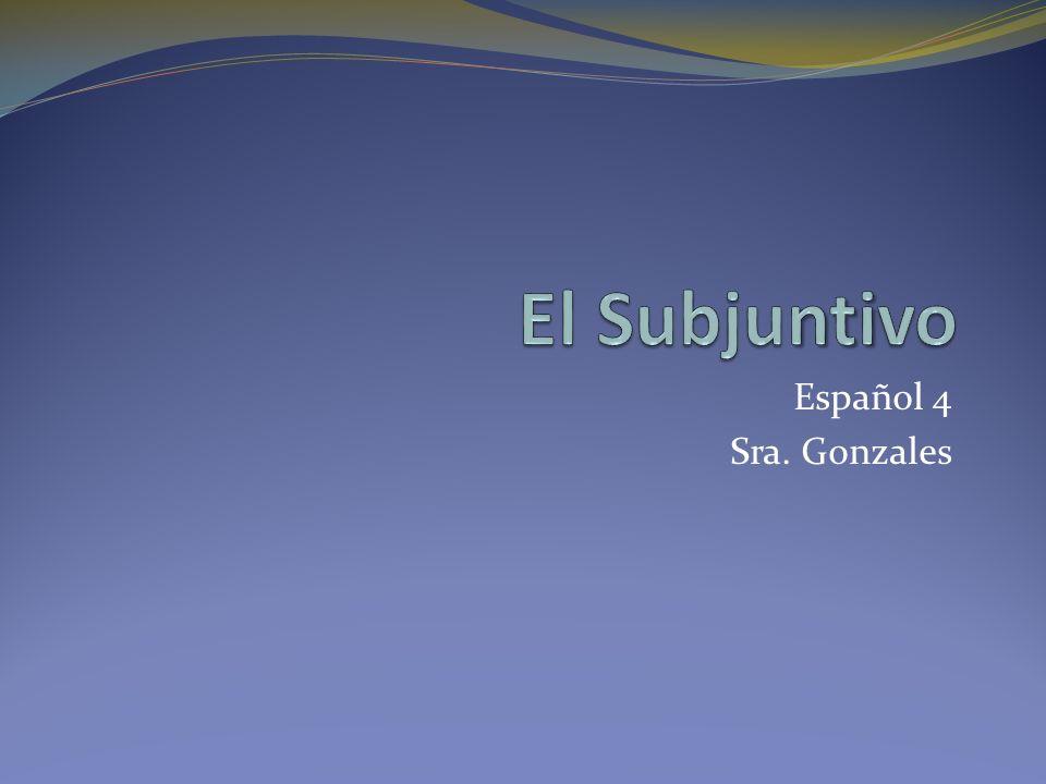 El Subjuntivo Español 4 Sra. Gonzales