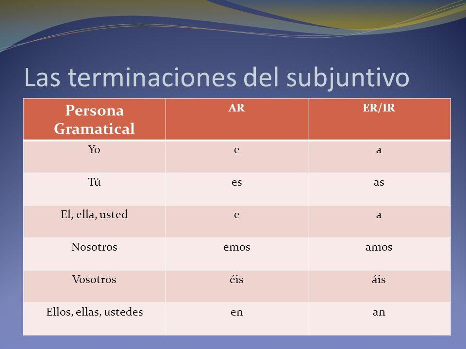 Las terminaciones del subjuntivo