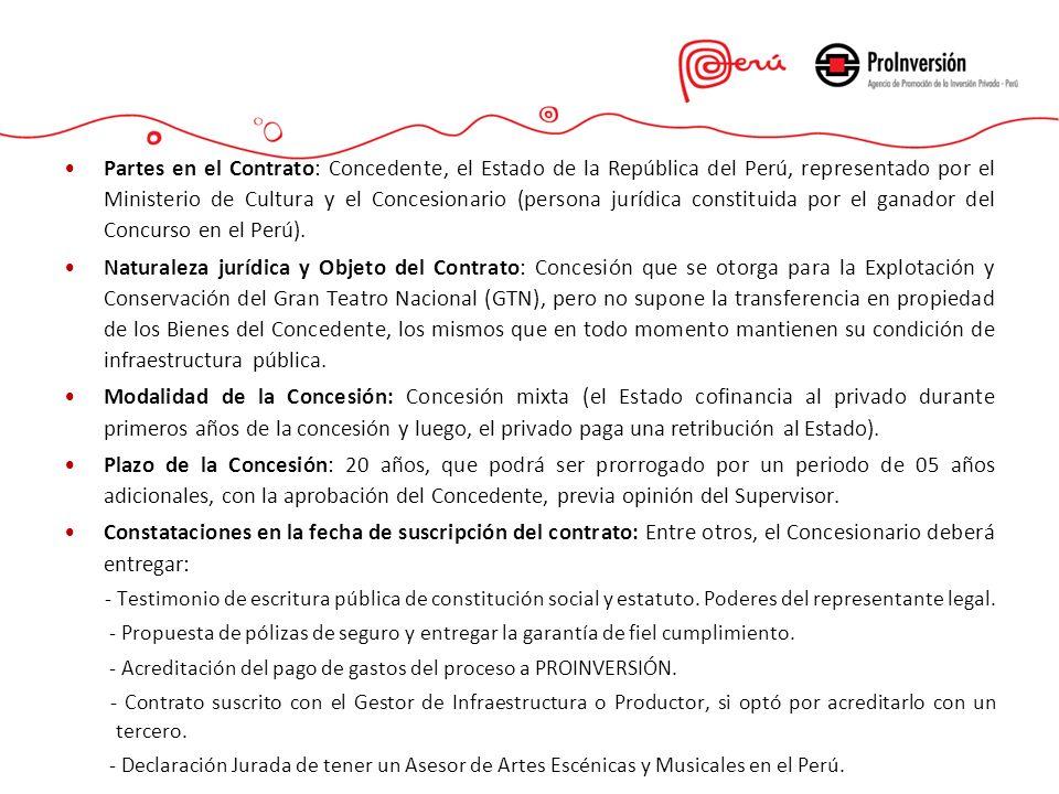 Partes en el Contrato: Concedente, el Estado de la República del Perú, representado por el Ministerio de Cultura y el Concesionario (persona jurídica constituida por el ganador del Concurso en el Perú).