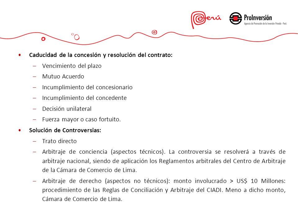 Caducidad de la concesión y resolución del contrato: