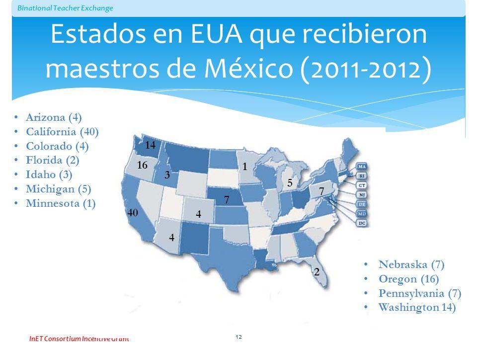 Estados en EUA que recibieron maestros de México (2011-2012)