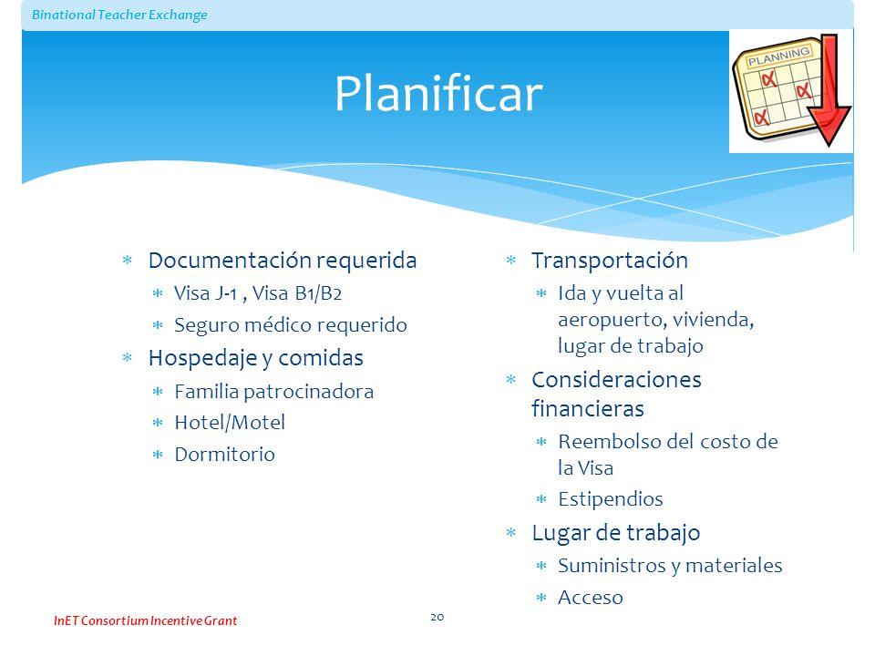 Planificar Documentación requerida Hospedaje y comidas Transportación