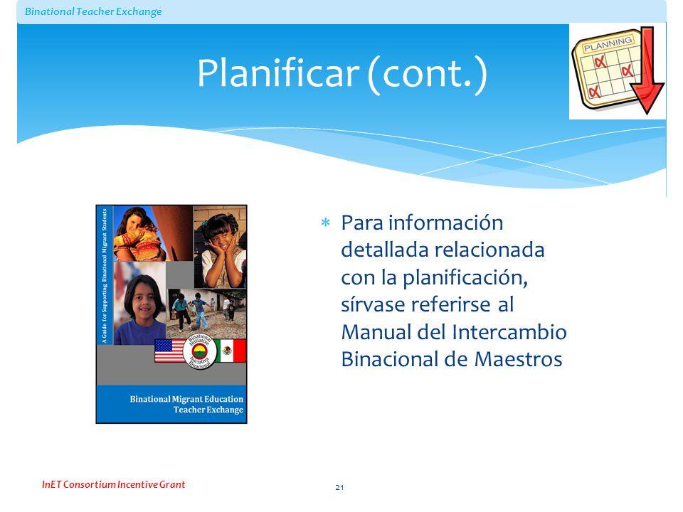 Planificar (cont.) Para información detallada relacionada con la planificación, sírvase referirse al Manual del Intercambio Binacional de Maestros.