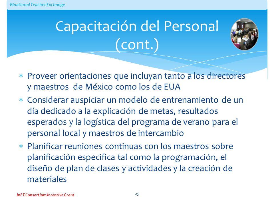 Capacitación del Personal (cont.)