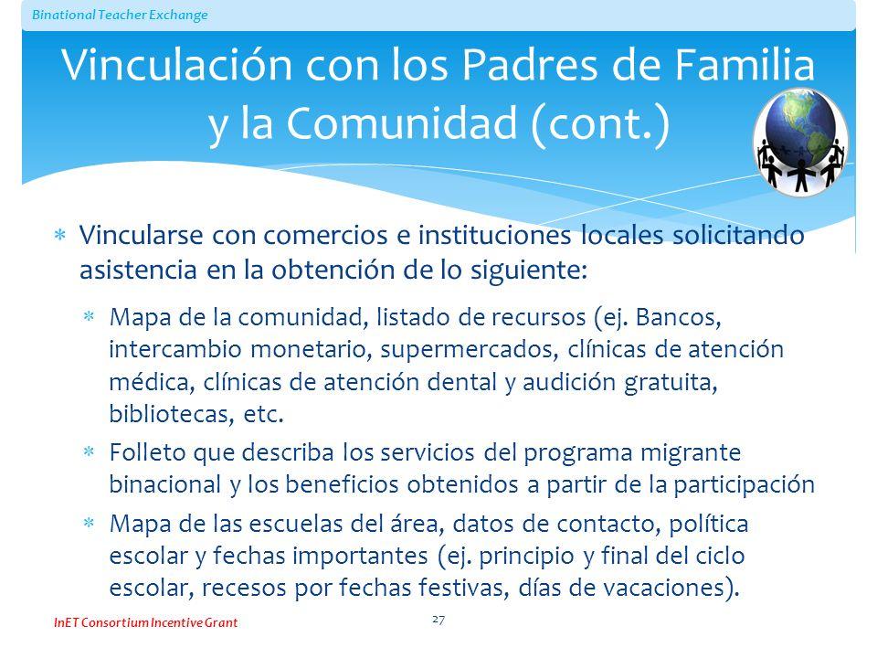 Vinculación con los Padres de Familia y la Comunidad (cont.)