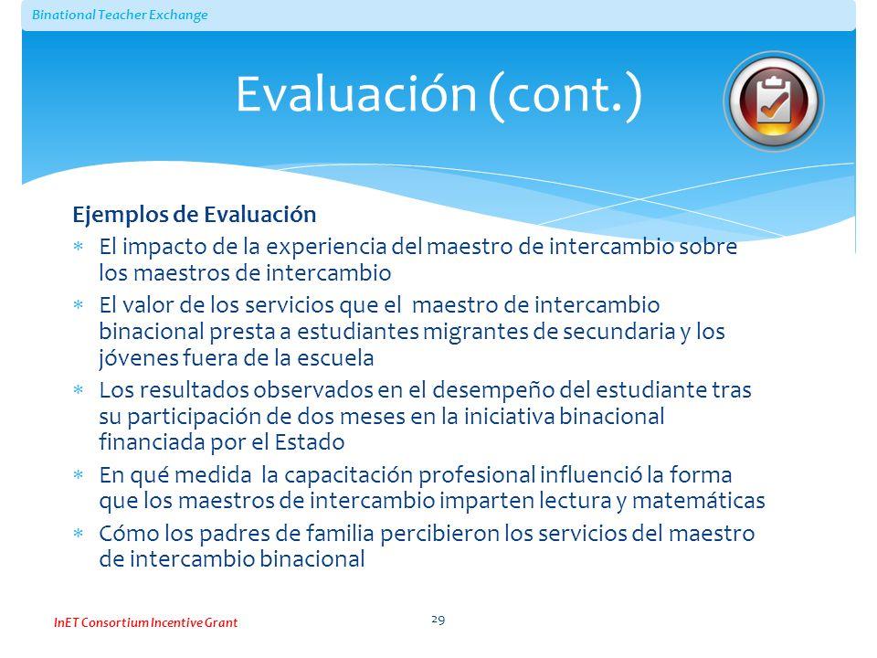 Evaluación (cont.) Ejemplos de Evaluación