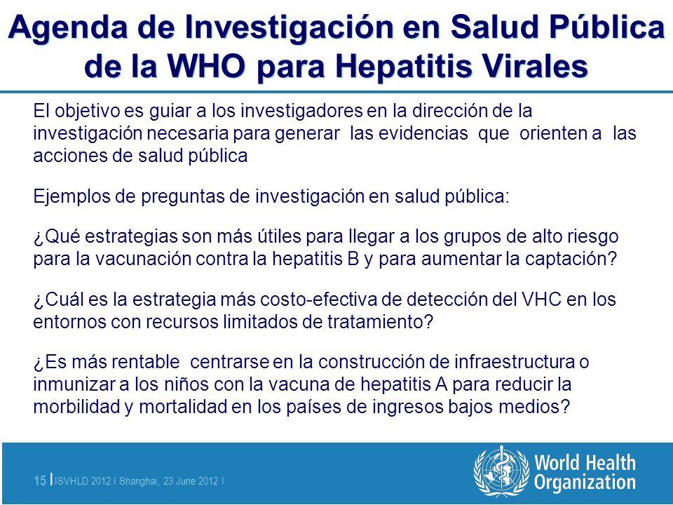 Agenda de Investigación en Salud Pública de la WHO para Hepatitis Virales